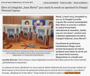 """Elevi ai Colegiului """"Ioan Slavici"""" pun marti in scena un spectacol in Pasajul Pietonal Coposu (informatia-zilei.ro)"""