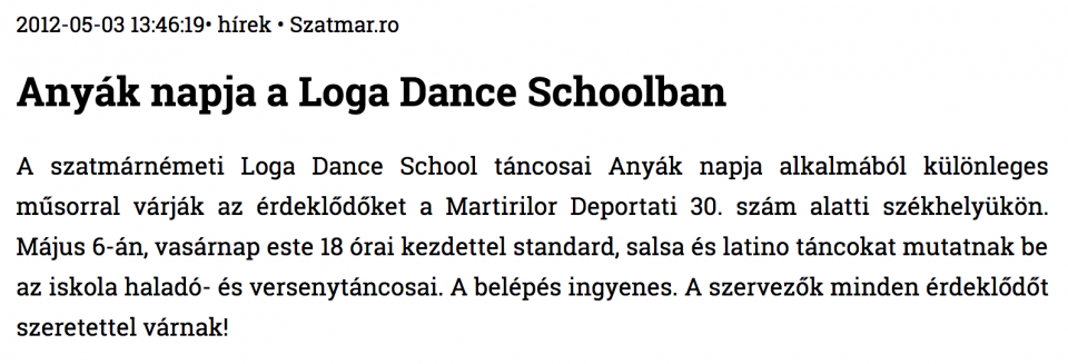 Anyak napja a Loga Dance Schoolban (szatmar.ro)