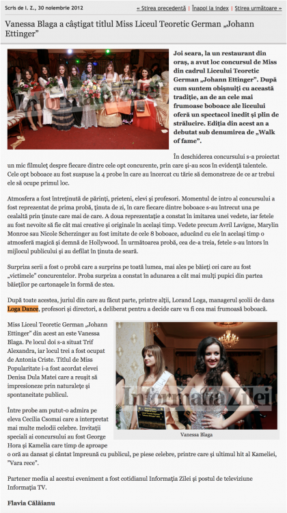 "Vanessa Blaga a castigat titlul Miss Liceul Teoretic German ""Johann Ettinger"" (informatia-zilei.ro)"