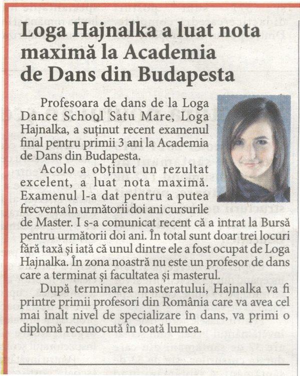 Loga Hajnalka a luat nota maxima la Academia de Dans din Budapesta (Informatia Zilei)