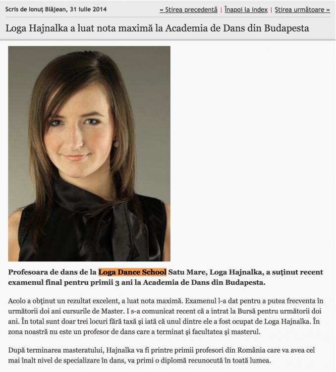 Loga Hajnalka a luat nota maxima la Academia de Dans din Budapesta (informatia-zilei.ro)