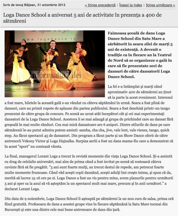 Loga Dance School a aniversat 5 ani de activitate in prezenta a 400 de satmareni (informatia-zilei.ro)