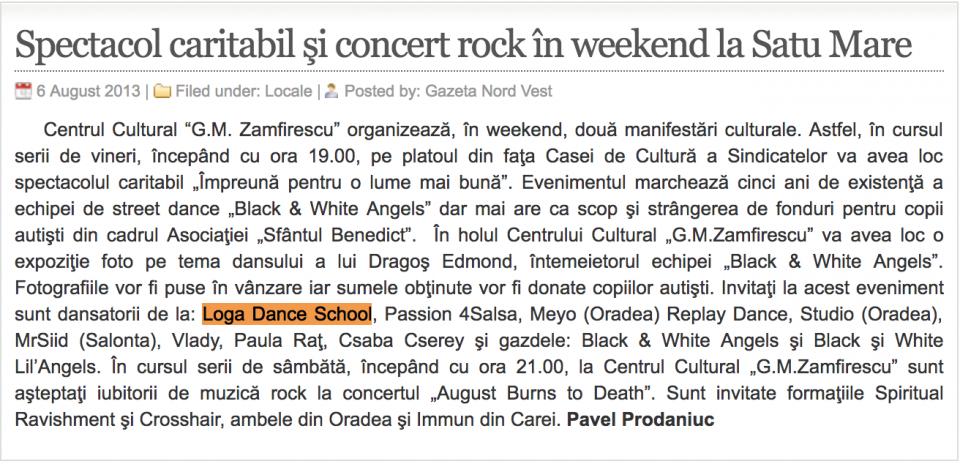 Spectacol caritabil si concert rock in weekend la Satu Mare (gazetanord-vest.ro)