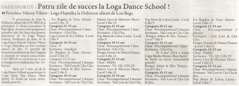 Patru zile de succes la Loga Dance School! (Gazeta De Nord Vest)