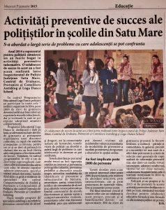 Activitati de prevenire de succes ale politistilor in scolile din Satu Mare(Informatia Zilei)