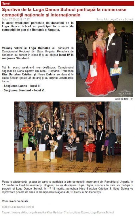 Sportivii de la Loga Dance School participa la numeroase competitii nationale si internationale (portalsm.ro)