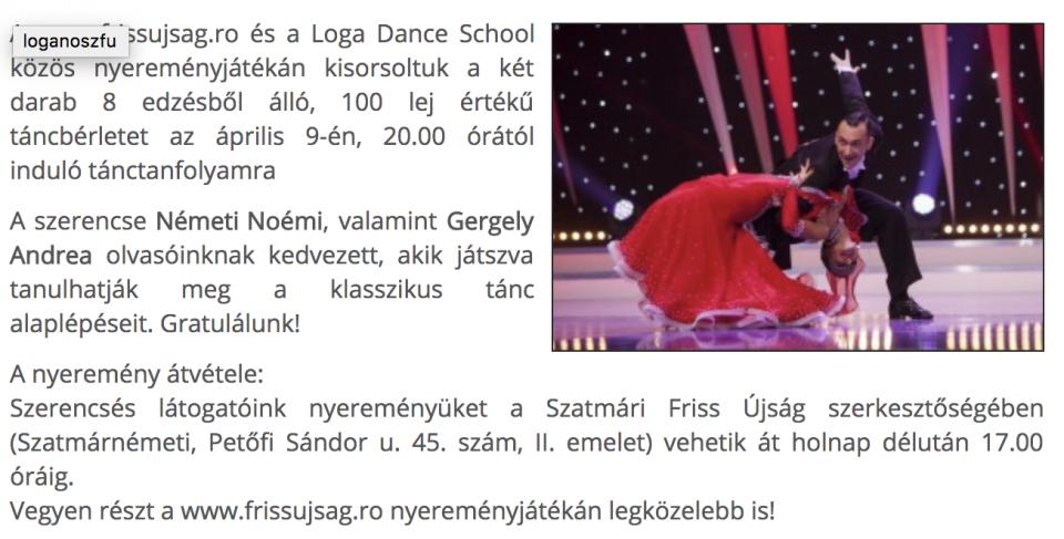 Loga Dance School tancberletet nyertek!(frissujsag.ro)