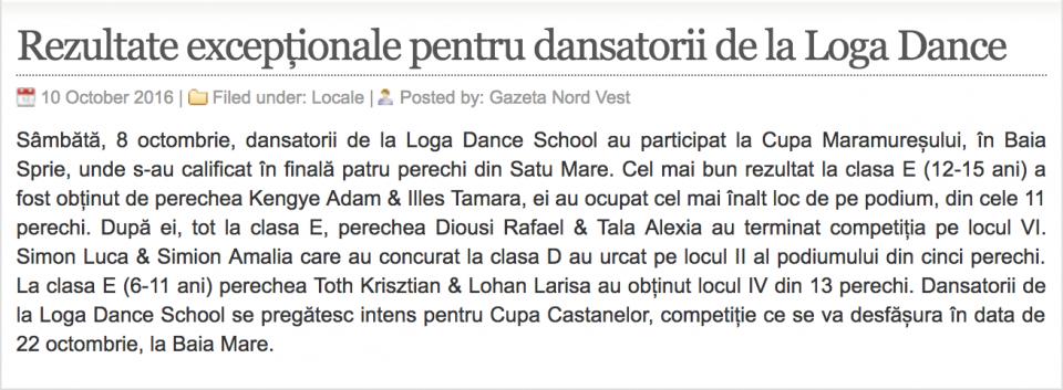Rezultate exceptionale pentru dansatorii de la Loga Dance School (gazetanord-vest.ro)