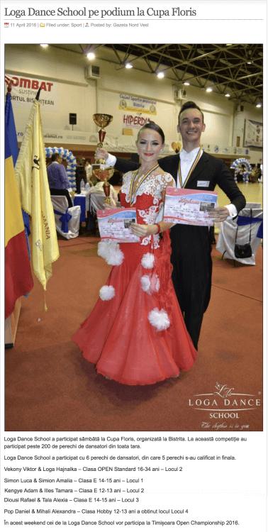 Loga Dance School pe podium la Cupa Floris (gazetanord-vest.ro)