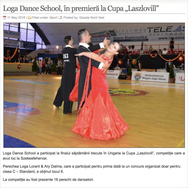 """Loga Dance School, în premieră la Cupa """"Laszlovill"""" (gazetanord-vest.ro)"""