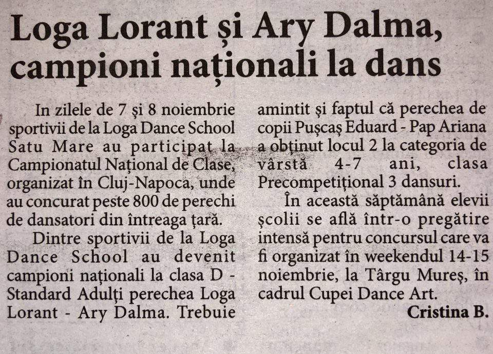 Loga Lorant si Ary Dalma, campioni nationali la dans (Informatia Zilei)