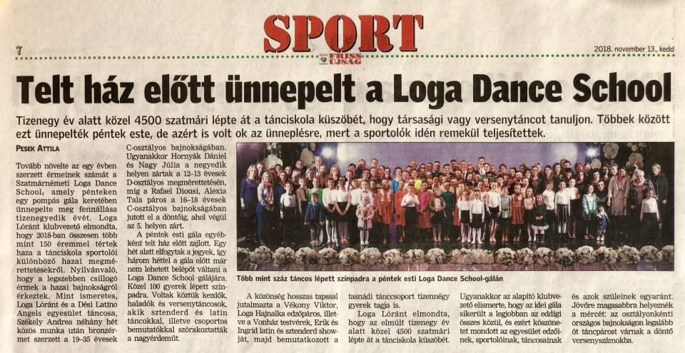Telt haz elott unnepelt a Loga Dance School(Friss Ujsag)