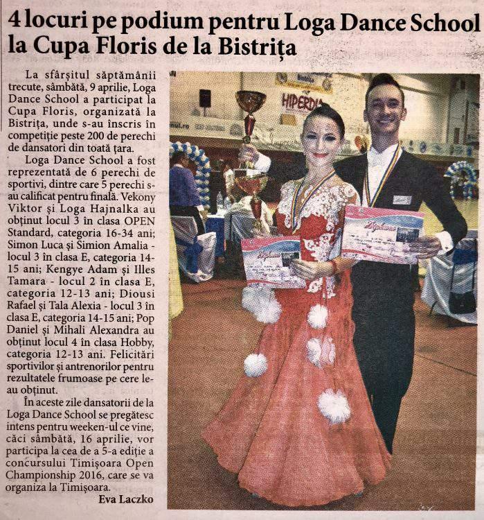 4 locuri pe podium pentru Loga Dance School la Cupa Floris de la Bistrita (Informatia Zilei)