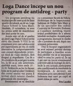 Loga Dance School incepe un nou program de antidrog – party (Informatia Zilei)