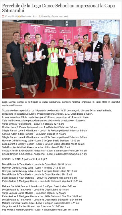 Perechile de la Loga Dance School au impresionat la Cupa Satmarului (gazetanord-vest.ro)