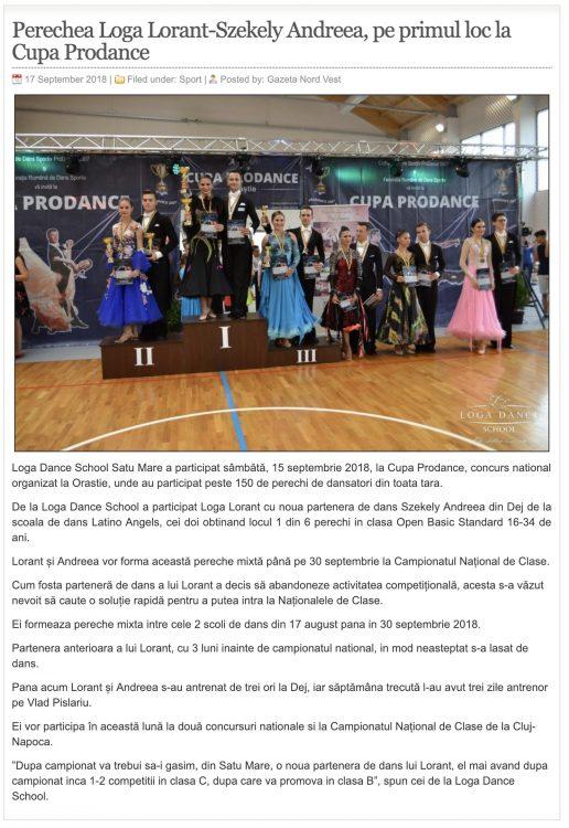 Perechea Loga Lorant-Szekely Andreea, pe primul loc la Cupa Prodance (gazetanord-vest.ro)