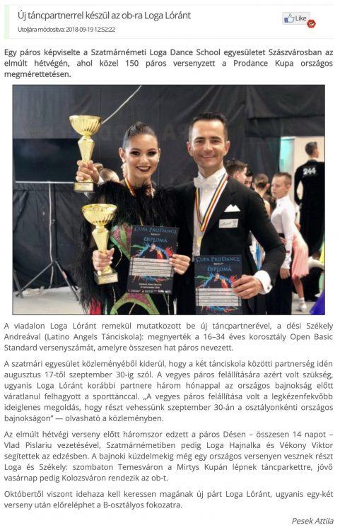 Uj tancpartnerrel keszul az ob-ra Loga Lorant(frissujsag.ro)