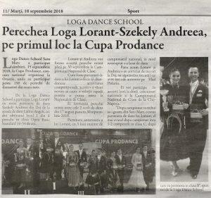 Perechea Loga Lorant-Szekely Andreea, pe primul loc la Cupa Prodance (Gazeta De Nord Vest)
