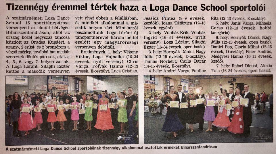 Tizennegy eremmel tertek haza a Loga Dance School sportoloi(Friss Ujsag)