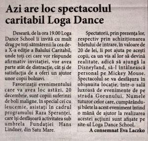 Azi are loc spectacolul caritabil Loga Dance School (Informatia Zilei)