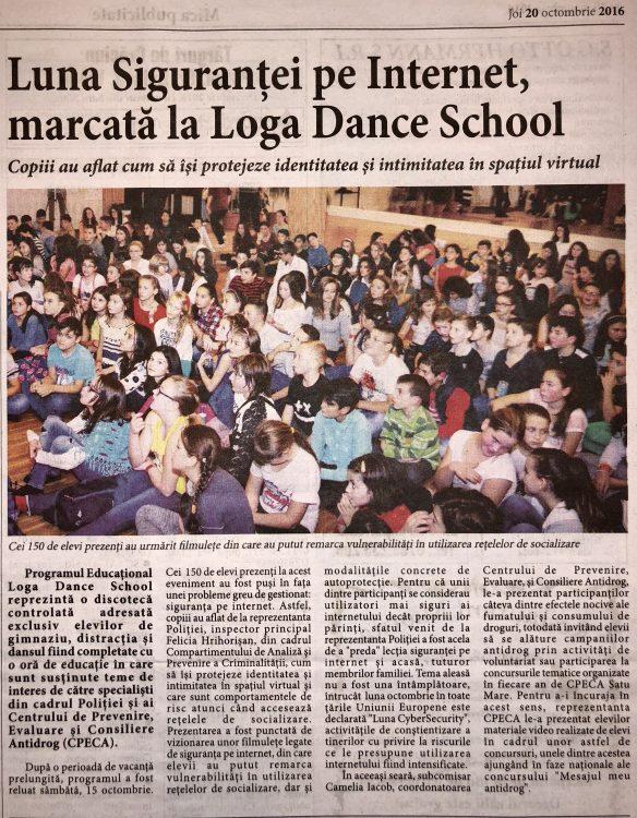 Luna Sigurantei pe Internet, marcata la Loga Dance School (Informatia Zilei)