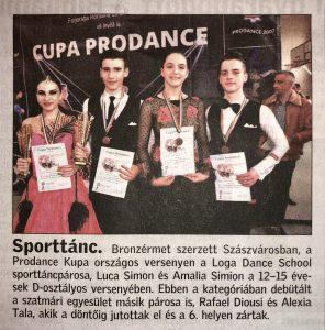 Bronzerem a szaszvarosi versenyen (Friss Ujsag)