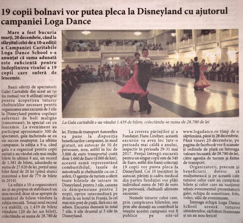 19 copii bolnavi vor putea pleca la Disneyland cu ajutorul campaniei caritabile Loga Dance School (Informatia Zilei)