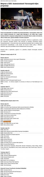 Megvan a XXII. Szatmarnemeti Varosnapok teljes programja (szatmar.ro)