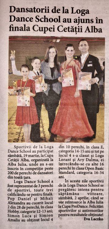 Dansatorii de la Loga Dance School au ajuns in finala Cupei Cetatii Alba (Informatia Zilei)