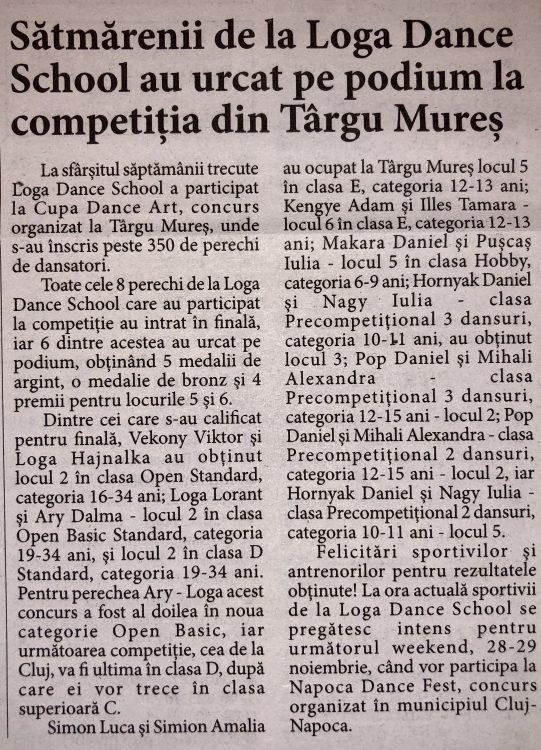 Satmarenii de la Loga Dance School au urcat pe podium la competitia din Targu Mures (Informatia Zilei)