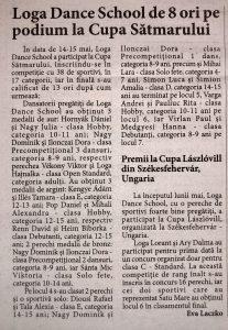 Cupa Loga Dance School de 8 ori pe podium la Cupa Satmarului (Informatia Zilei)