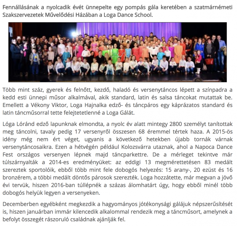 Unnepelt a Loga Dance School(frissujsag.ro)