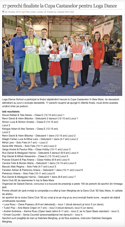 17 perechi finaliste la Cupa Castanelor pentru Loga Dance School (gazetanord-vest.ro)