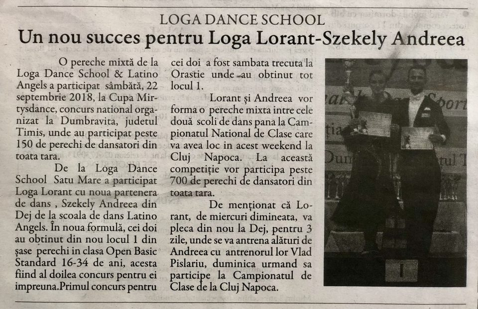 Un nou succes pentru Loga Lorant-Szekely Andreea (Gazeta De Nord Vest)