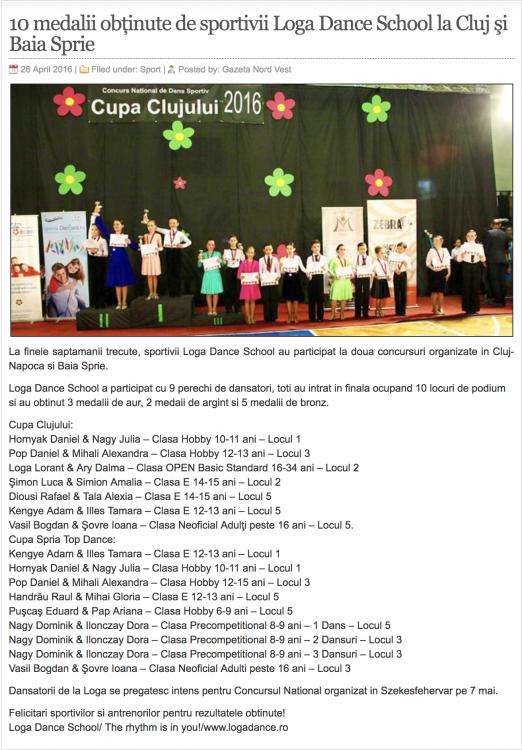 10 medalii obţinute de sportivii Loga Dance School la Cluj şi Baia Sprie (gazetanord-vest.ro)