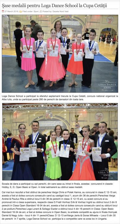 Sase medalii pentru Loga Dance School la Cupa Cetatii (gazetanord-vest.ro)