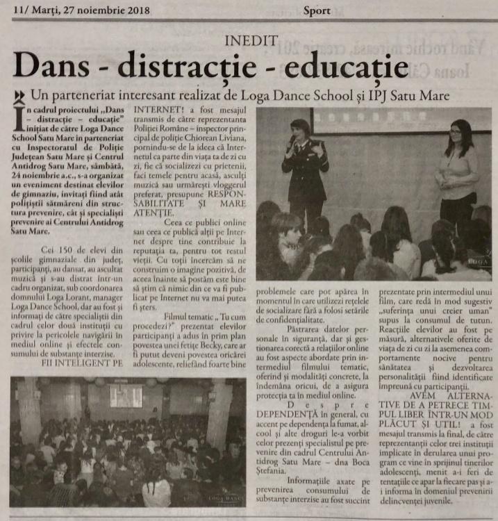 Inedit - Dans - distractie - educatie ( Gazeta de Nord Vest)
