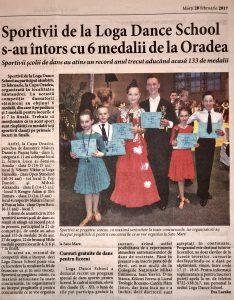 Sportivii de la Loga Dance School s-au intors cu 6 medalii de la Oradea (Informatia Zilei)