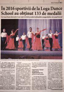 In 2016 sportivii de la Loga Dance School au obtinut 135 de medalii (Informatia Zilei)