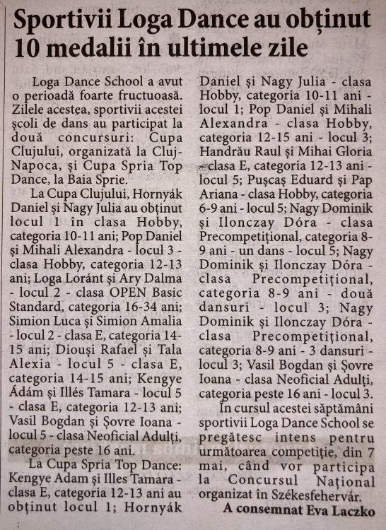 Sportivii Loga Dance au obtinut 10 medalii in ultimele zile (Informatia Zilei)