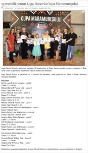 13 medalii pentru Loga Dance School la Cupa Maramuresului (gazetanord-vest.ro)