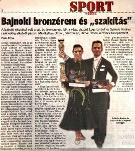 """Bajnoki bronzerem es """"szakitas""""(Friss Ujsag)"""