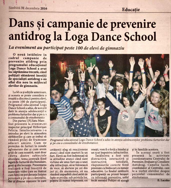 Dans si campanie de prevenire antidrog la Loga Dance School (Informatia Zilei)