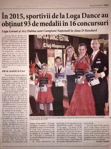 In 2015, sportivii de la Loga Dance School au obtinut 93 de medalii in 16 concursuri (Informatia Zilei)