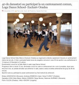 40 de dansatori au participat la un cantonament comun, Loga Dance School- Exclusiv Oradea (gazetanord-vest.ro)