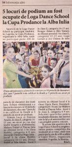 5 locuri pe podium au fost ocupate de Loga Dance School la Cupa Prodance la Alba Iulia (Informatia Zilei)