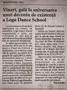 Vineri, gala la aniversarea unui deceniu de existenta a Loga Dance School (Informatia Zilei)