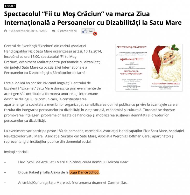 """Spectacolul """"Fii tu Mos Craciun"""" va marca Ziua Internationala a Persoanelor cu Dizabilitati la Satu Mare (portalsm.ro)"""