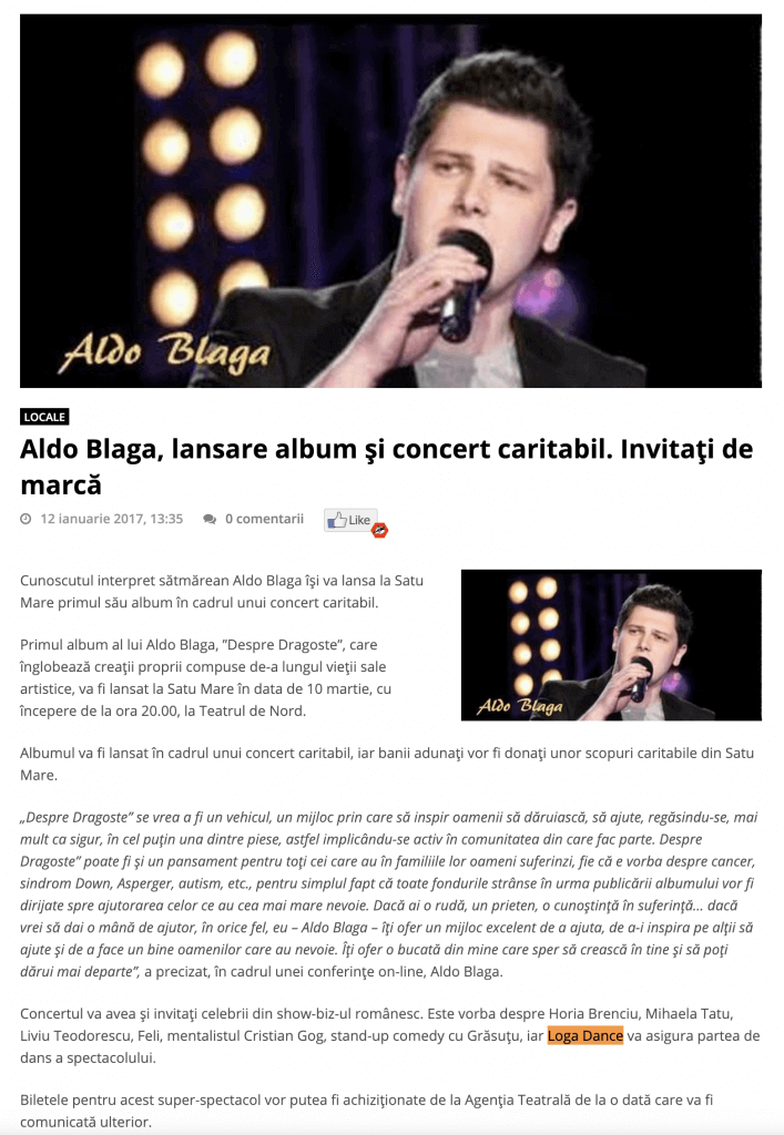 Aldo Blaga, lansare album si concert caritabil. Invitati de marca (portalsm.ro)