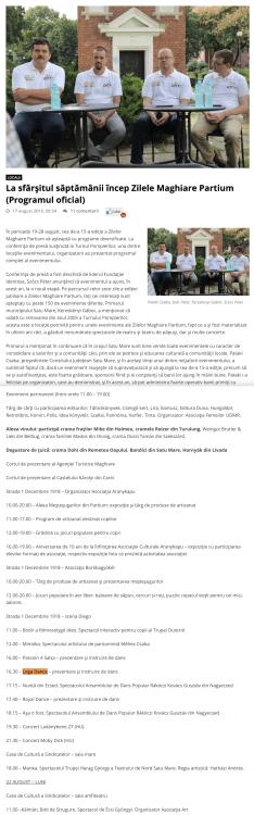 La sfarsitul saptamanii incep Zilele Maghiare Partium, programul oficial (portalsm.ro)